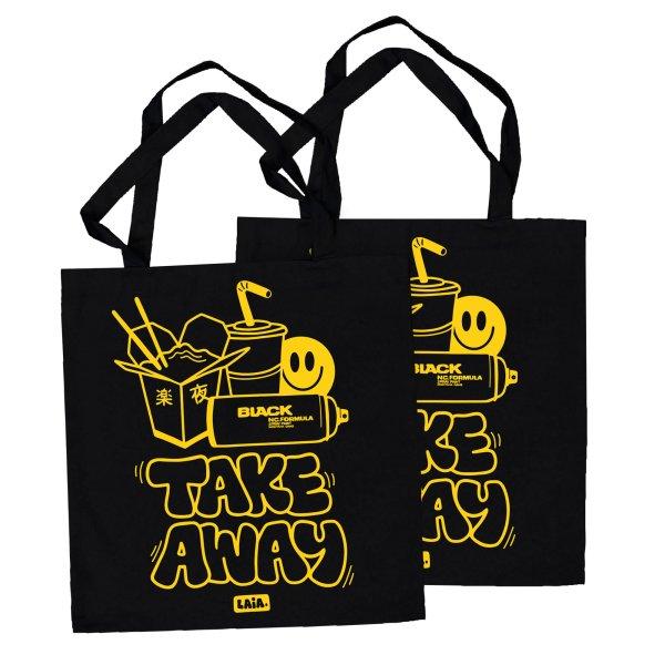 COTTON BAG TAKE AWAY by Laia, black